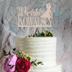 Topper na tort weselny Romantyczna Para + napis Państwo + Nazwisko Napis Dekoracja Ślub Wesele