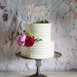 Topper na tort weselny - obrączki + 2 imiona Napis Dekoracja Ślub Wesele