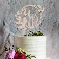 Topper na tort - wianek z inicjałami - ślub wesele rocznica ślubu
