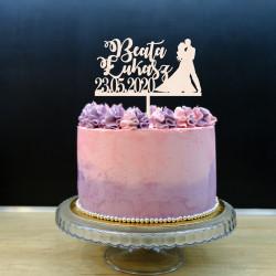 Topper na tort weselny - Para z datą i imiona małżonków - ślub