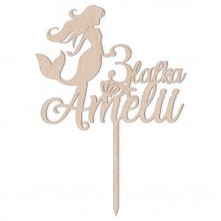 Topper na tort - Syrenka Syrena Mermaid - napis dekoracja
