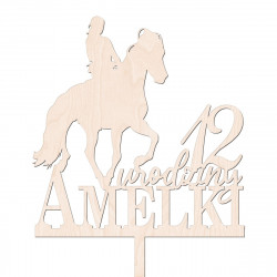 Topper na tort urodzinowy - koń, jeździectwo, jazda konna - napis