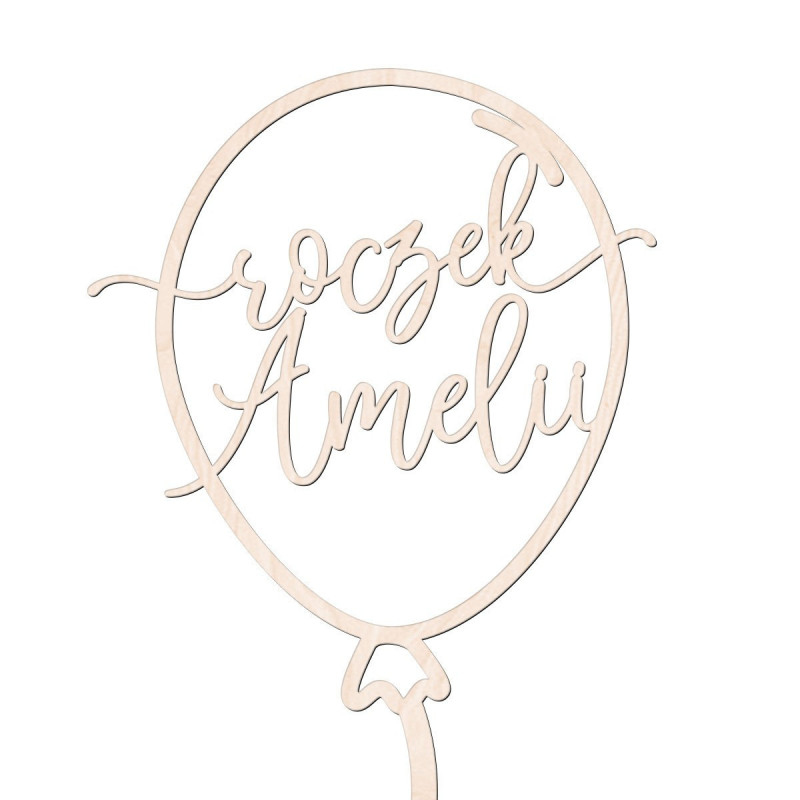 Topper balonik - roczek + imię