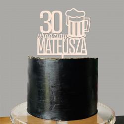 Topper - Piwo Kufel Piwa - urodziny napis na tort