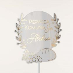 Topper Pierwsza Komunia Święta - chleb i winorośl - seria GLAMOUR