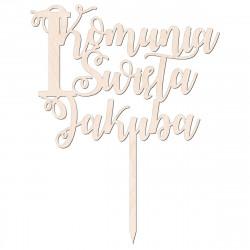 Topper - Pierwsza Komunia Święta - imię - zawijasy