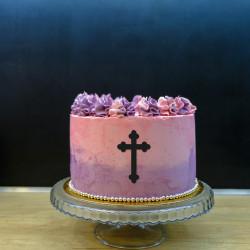 Dekor na bok tortu - krzyż 1