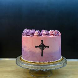 Dekor na bok tortu - krzyż 2