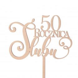 Topper - Rocznica Ślubu - dowolna liczba - napis dekoracja na tort