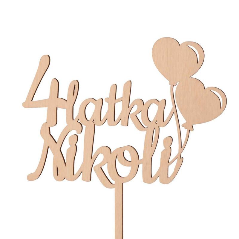 Topper urodzinowy - z balonikami w kształcie serc - dowolna liczba i imię