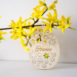 Jajko zawieszka z imieniem - Kwiaty