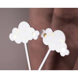 Zestaw Topperów urodzinowych - 2 Chmurki  + lizak z napisem