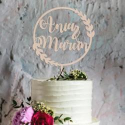 Topper na tort weselny dwa imiona w kole Napis Dekoracja Ślub Wesele