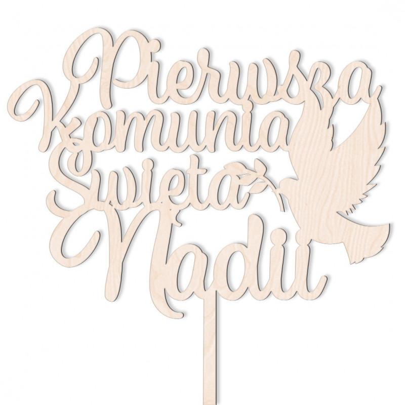 Topper Pierwsza Komunia Święta z Gołębicą + Imię