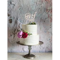 Topper na tort - Inicjały z datą Napis Dekoracja Ślub Wesele
