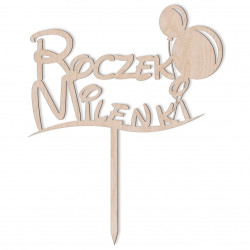 Topper Roczek z Balonikami 3 - Napis na Tort Dekoracja
