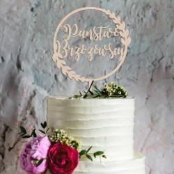 Topper na tort - Napis w kole: Państwo + Nazwisko Napis Dekoracja Ślub Wesele