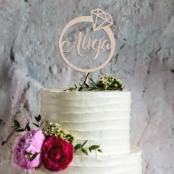 Topper na tort pierścionek z diamentem + imię (urodziny, wieczór panieński, imieniny, zaręczyny) Napis Dekoracja