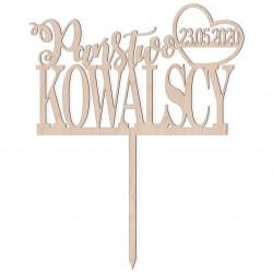 Topper na tort Państwo + Nazwisko + serce z datą Napis Dekoracja Ślub Wesele